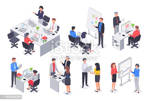 Isometric business office team. Corporate teamwork meeting, employee workplace and people work. Career strategy consulting or coworking workspace. 3D vector illustration isolated icons set