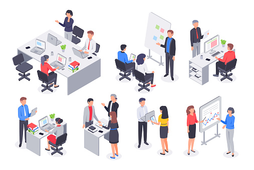 Isometric business office team. Corporate teamwork meeting, employee workplace and people work 3D vector illustration set clipart