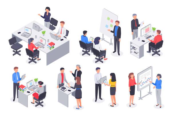 izometryczny zespół biura biznesowego. spotkanie w pracy zespołowej firmy, praca pracowników i ludzie pracują 3d zestaw ilustracji wektorowych - rzut izometryczny stock illustrations