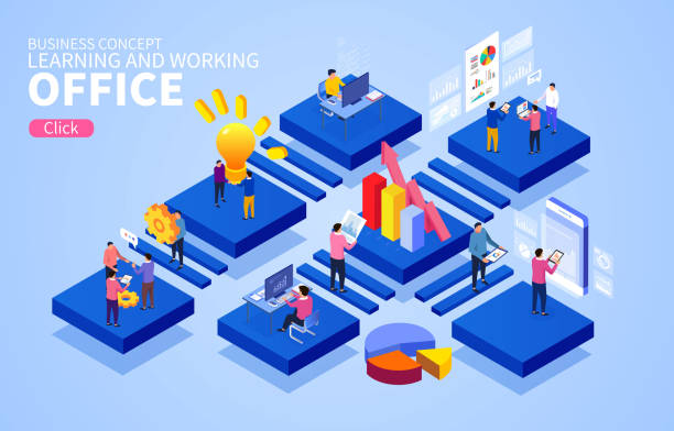 Isometrische Geschäftsbüro-Arbeitsstudie und Diskussion zur Geschäftsdatenanalyse – Vektorgrafik