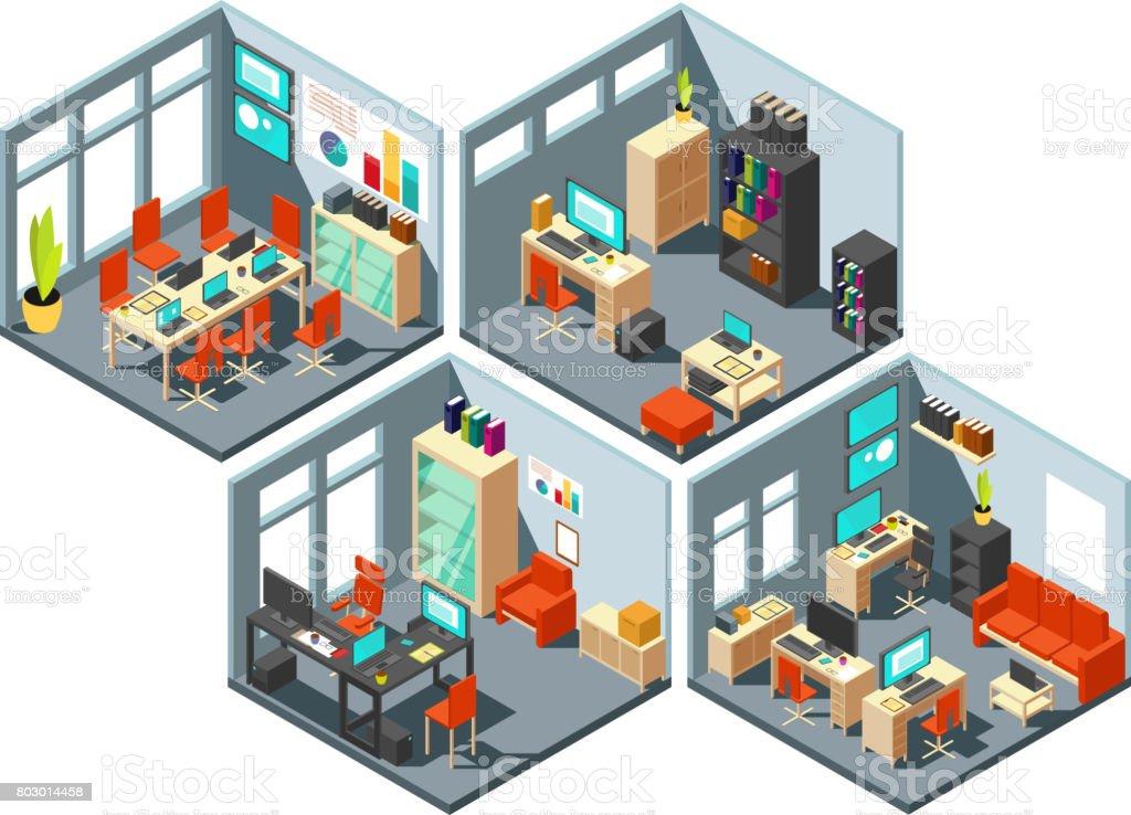 Bureau Plan De Travail bureaux daffaires isométrique avec différents espaces de