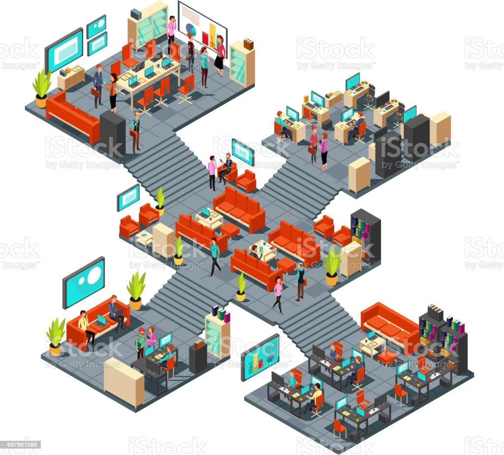 Isometric business offices with staff. 3d businessmen networking in office interior vector art illustration