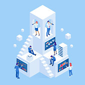 Isometric business people analyzing a financial dashboard with key performance indicators and business intelligence. Search for new business ideas, startups, employees