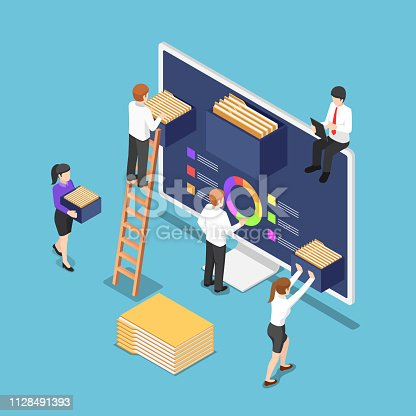istock Isometric business people are organize document files and folders inside computer 1128491393