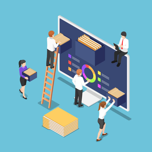 izometryczne osoby biznesowe organizują pliki dokumentów i foldery wewnątrz komputera - menadżer stock illustrations
