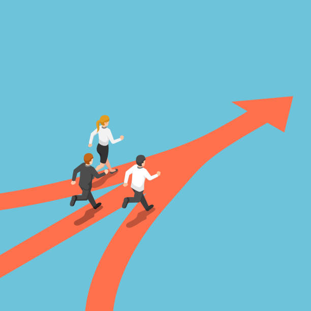 等距業務人員來自不同的方式, 但有相同的目標 - 一個物體 幅插畫檔、美工圖案、卡通及圖標