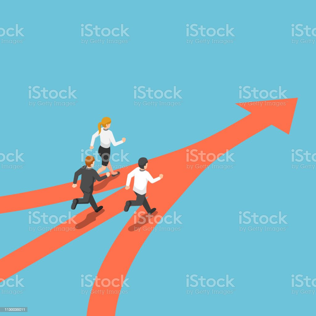 Isometric business people came from different way but have same target vector art illustration