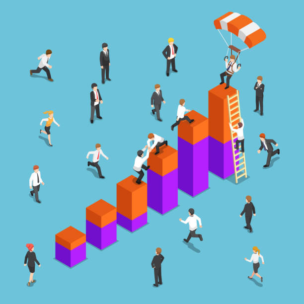 Isometric business people competing to reach the top of the graph vector art illustration