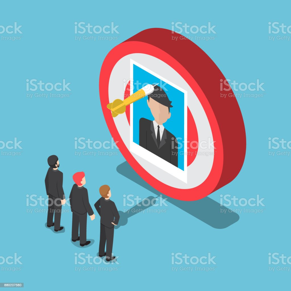 Isometric business people looking at the businessman picture on the target. vector art illustration
