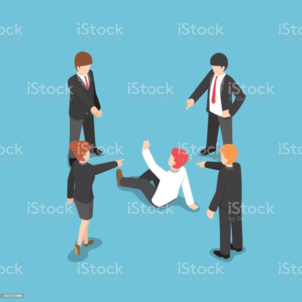 Gente de negocios isométrica señalar con el dedo a culpar a empresario. - ilustración de arte vectorial