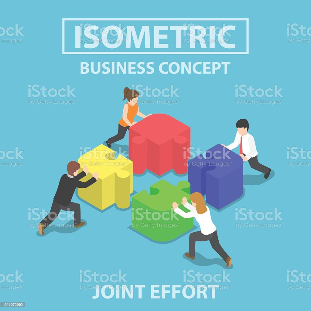 Isometric business people pushing and assembling four jigsaw puz vector art illustration