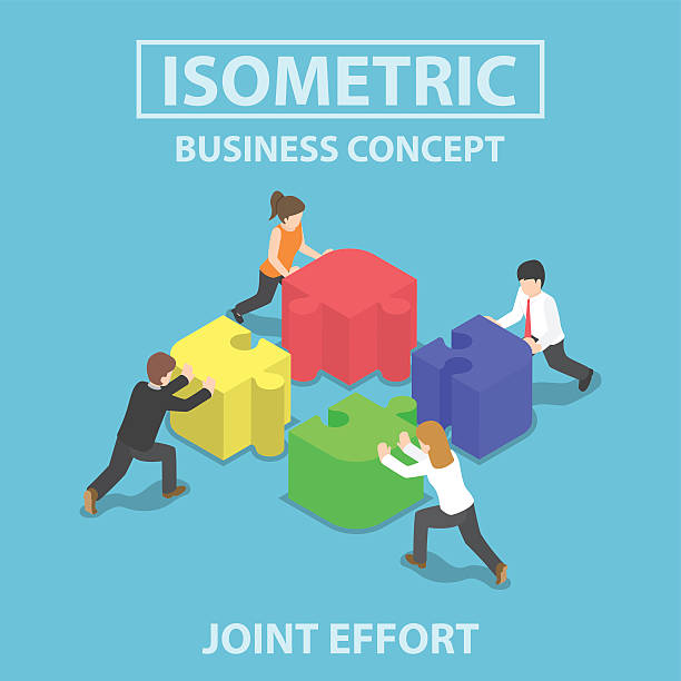 isometric business people pushing and assembling four jigsaw puz - adults only stock illustrations