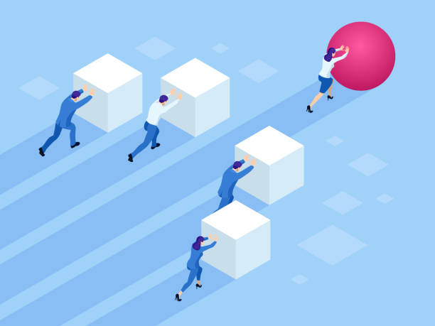 illustrazioni stock, clip art, cartoni animati e icone di tendenza di isometric business people pushing cubes. winner easily moving the cube. winning strategy, efficiency, innovation in business concept. - efficacia