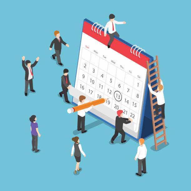 isometric business people scheduling operation on desk calendar - abstract calendar stock illustrations, clip art, cartoons, & icons