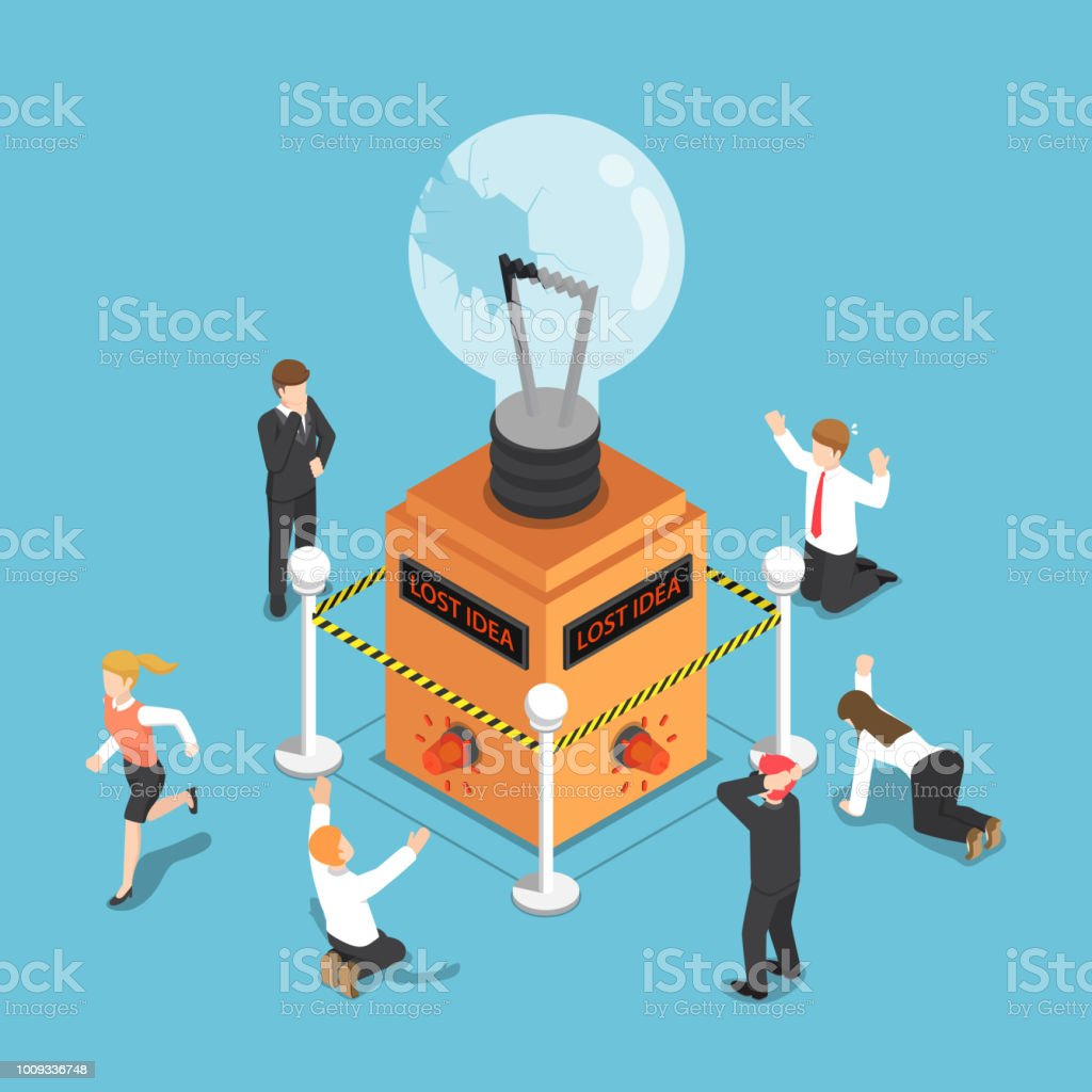 Isometric business people shocked when light bulb of idea is damaged vector art illustration