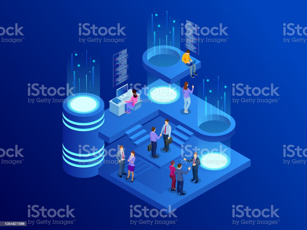 Isometric business people talking conference meeting room. Team work process. Business management teamwork meeting and brainstorming. Vector illustration. vector art illustration