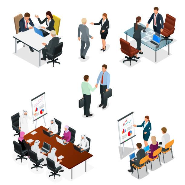 等尺性ビジネスの人々 話会議、会議室。チーム作業。会議やブレーンストーミングのビジネス管理チームワーク。ベクトルの図。 - 会議室点のイラスト素材/クリップアート素材/マンガ素材/アイコン素材