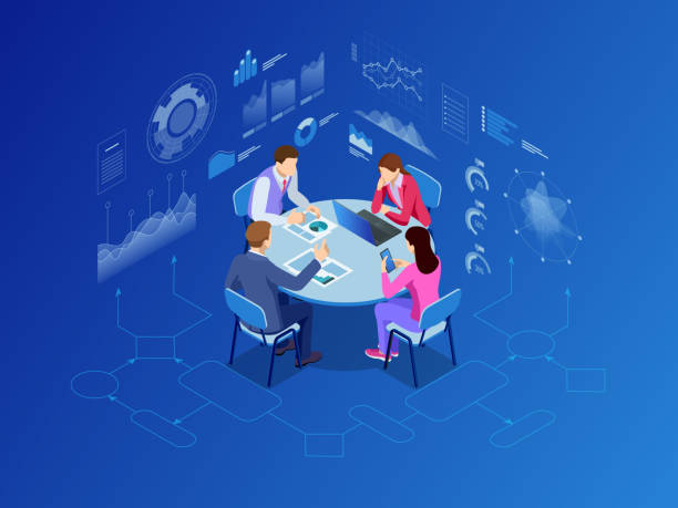 Isometric business people talking conference meeting room. Team work process. Business management teamwork meeting and brainstorming. Vector illustration. Isometric business people talking conference meeting room. Team work process. Business management teamwork meeting and brainstorming. Vector illustration four people stock illustrations
