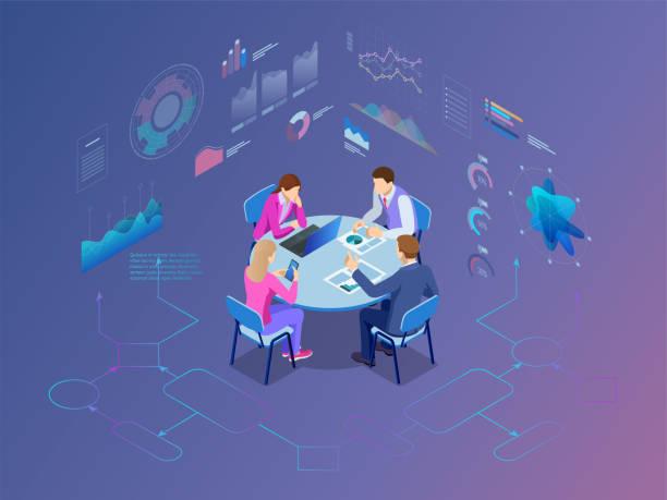 stockillustraties, clipart, cartoons en iconen met isometrische business mensen pratende conferentie-vergaderruimte. team werkproces - illustraties van business people on computer