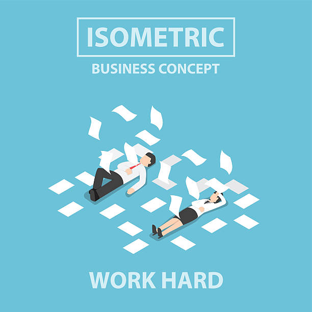 Isometric business people work hard and unconscious on the floor Isometric businessman and businesswoman work hard and unconscious on the floor, Flat 3d web isometric design, VECTOR, EPS10 tired woman stock illustrations