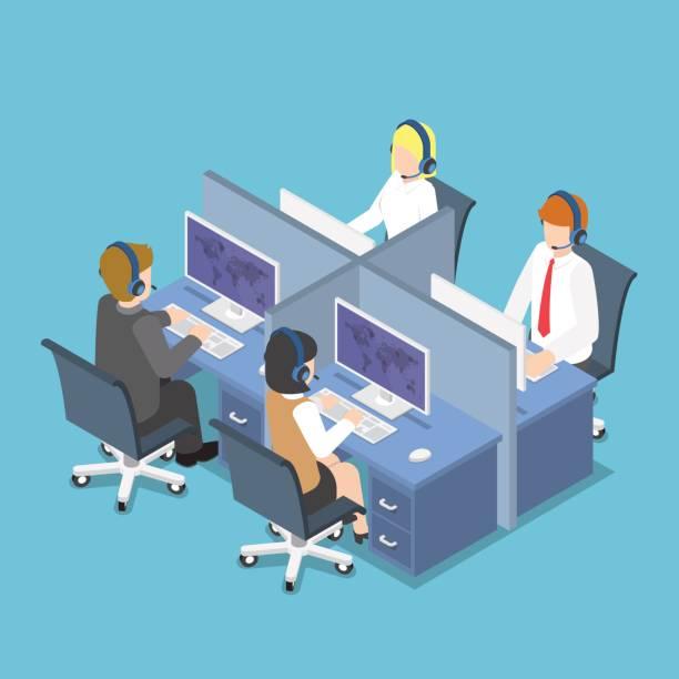 아이소메트릭 비즈니스 사람들이 콜 센터 및 서비스에서 헤드셋을 사용. - 고객 서비스 담당자 stock illustrations