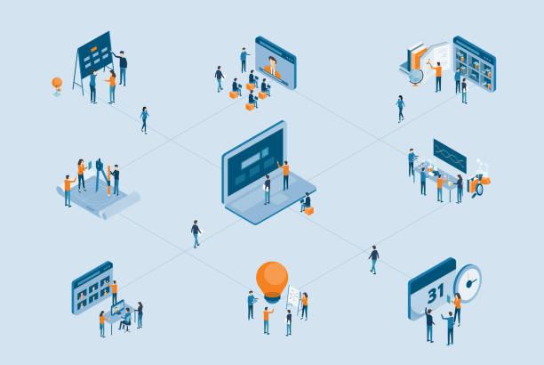 ilustraciones, imágenes clip art, dibujos animados e iconos de stock de concepto de proceso de proyecto de negocio isométrica con concepto de trabajo de equipo de negocio - reunión evento social