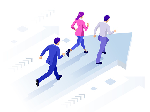 Isometric Business Success Concept. Entrepreneur business man leader. Businessman and his business team crossing finish line.