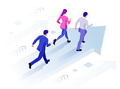 istock Isometric Business Success Concept. Entrepreneur business man leader. Businessman and his business team crossing finish line. 1128554348