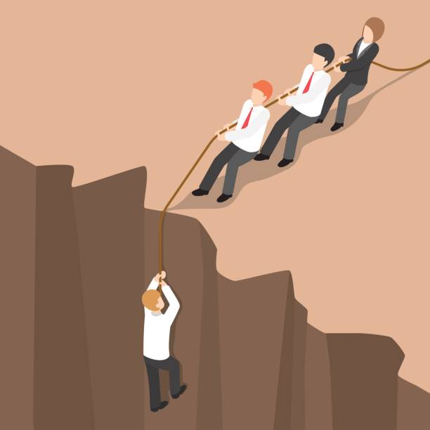Isometric business team help partner climb up from the cliff. Flat 3d isometric business team help partner climb up from the cliff. Teamwork concept. cliff stock illustrations