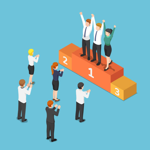 Isometric business team on the winner podium and raising hand together vector art illustration