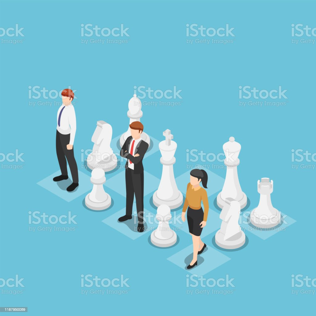 Isometric business team standing with chess - Royalty-free Adulto arte vetorial