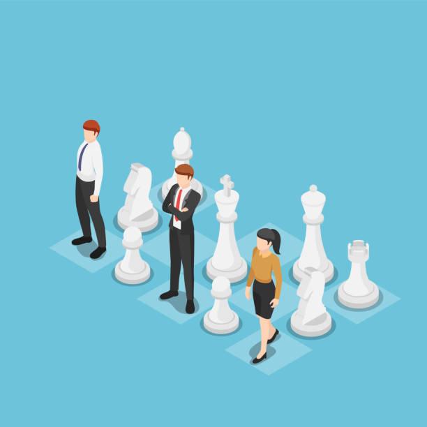 illustrations, cliparts, dessins animés et icônes de équipe d'affaires isometric restant avec des échecs - échec