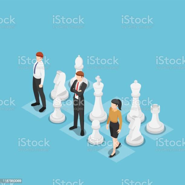 Isometric Business Team Standing With Chess - Arte vetorial de stock e mais imagens de Adulto