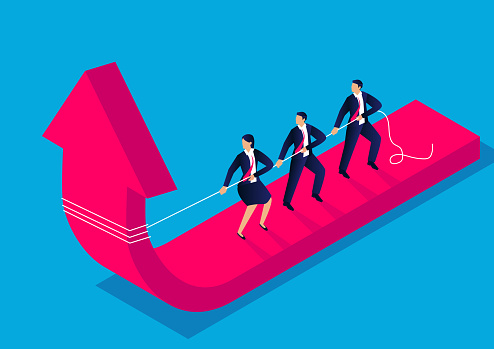 Isometric business team struggles with the falling arrow and changes the direction of the arrow