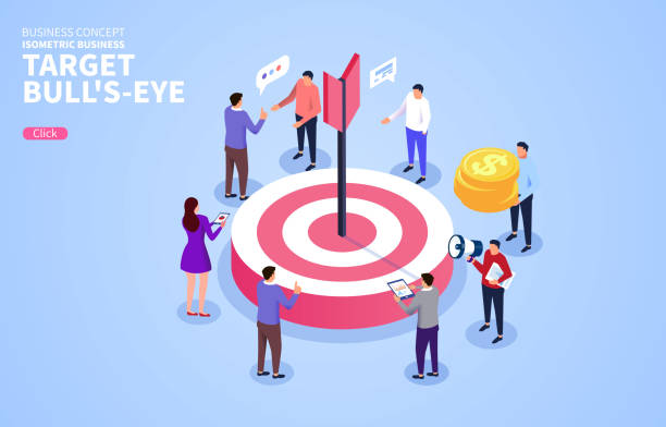Isometric business team with target vector art illustration