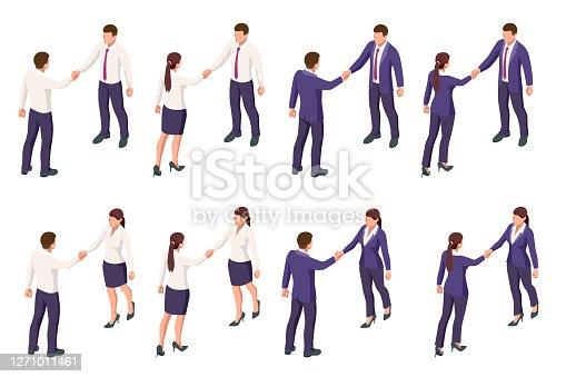 Isometric Business to Business Marketing, B2B Solution, business marketing concept. Two business partners shaking hands