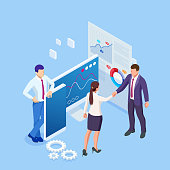 istock Isometric Business to Business Marketing, B2B Solution, business marketing concept. Two business partners shaking hands. 1271016756