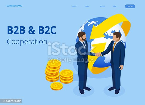 Isometric Business to Business Marketing, B2B Solution, business marketing concept. Online business, Partnership and Agreement.
