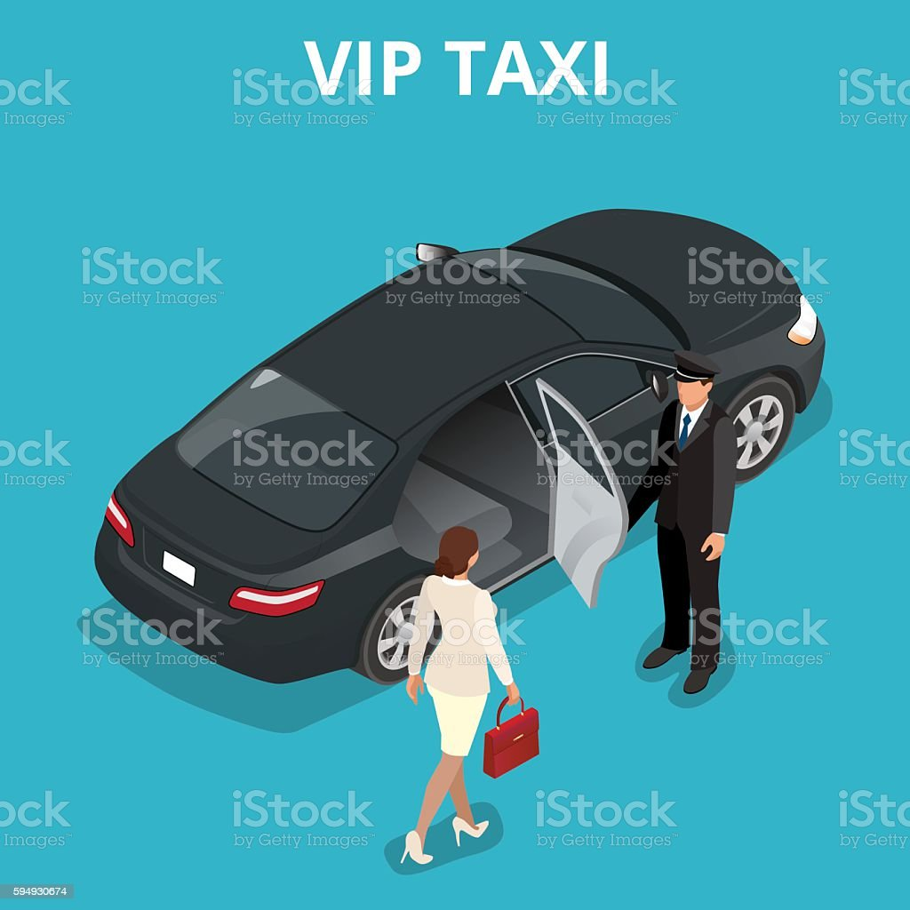 Isometric business woman getting into a taxi cab vector art illustration