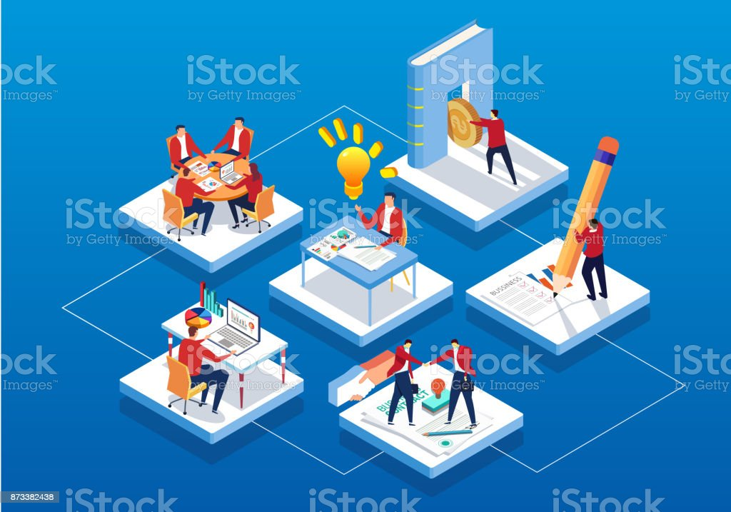 Isometric business workflow vector art illustration