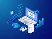 Isometric business workspace with laptop and office supplies on blue background for Business concept.