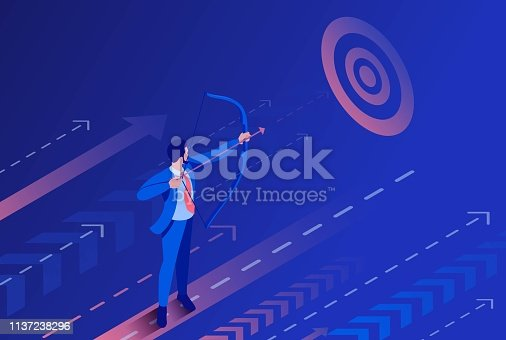 Isometric Businessman aiming at the target, Business concept. Concept for web design.