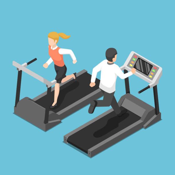 Isometric businessman and businesswoman running on treadmill vector art illustration