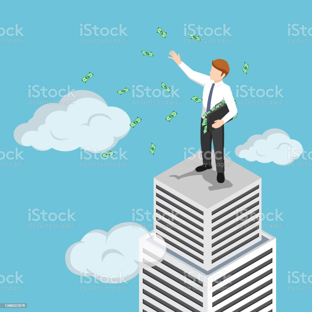 Isometric businessman at the top of skyscraper throwing his money vector art illustration