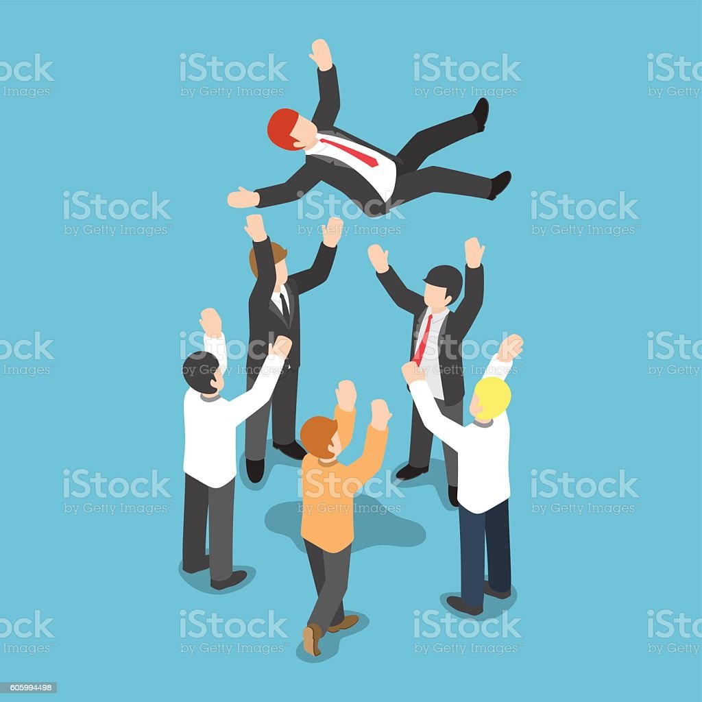 Isometric businessman being throw up in the air vector art illustration
