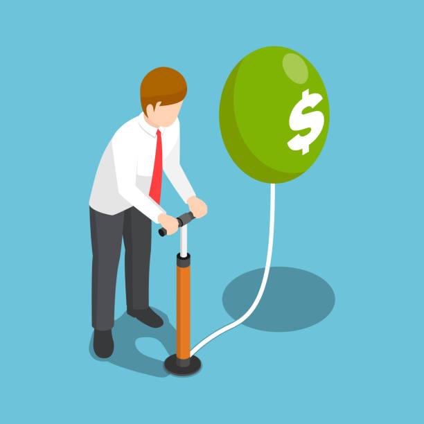 illustrations, cliparts, dessins animés et icônes de isométrique, homme d'affaires soufflant un ballon dollar par pompe à air. - inflation