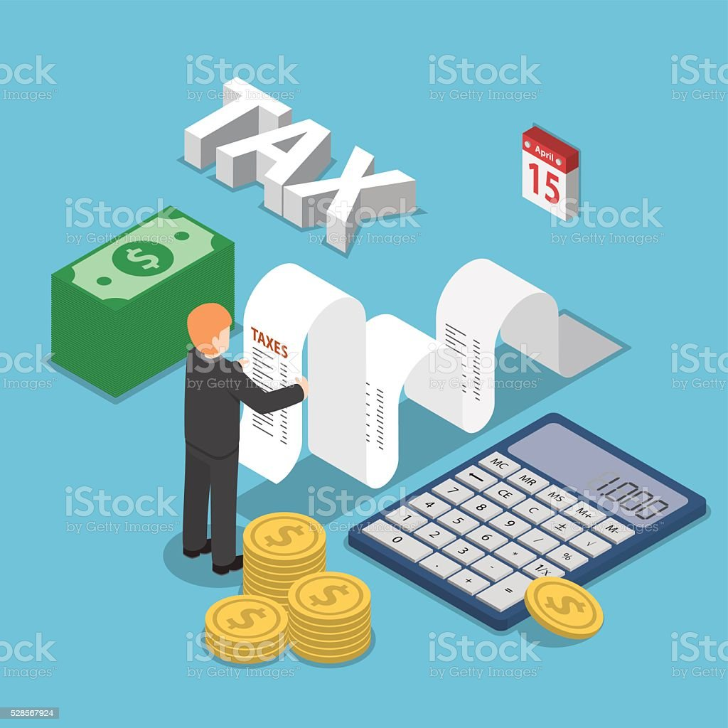 Isometric businessman calculate document for taxes with calculat vector art illustration