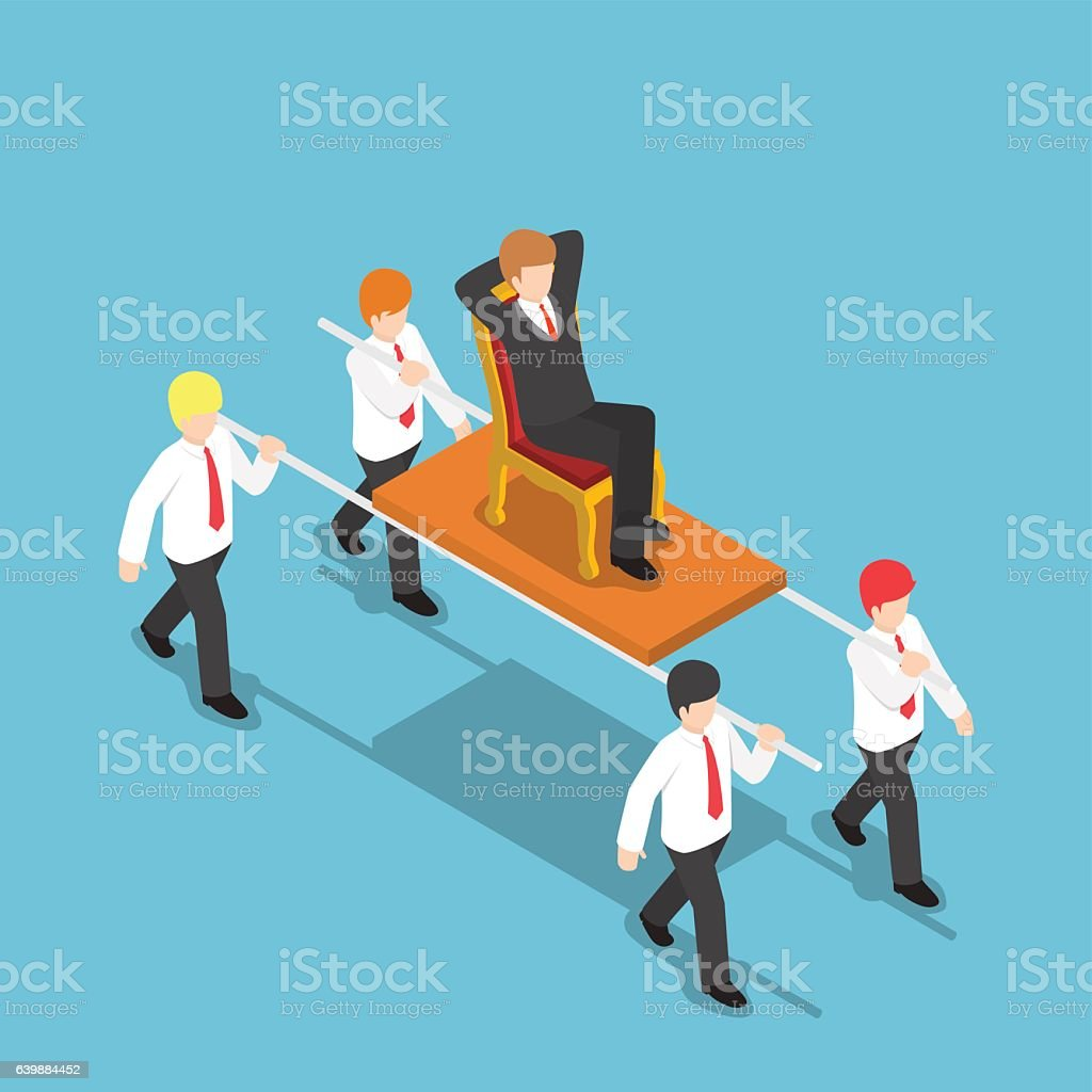Isometric businessman carrying his boss vector art illustration