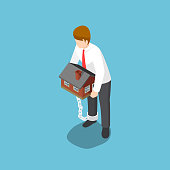 Flat 3d isometric businessman carrying home that chained with his ankles. Financial debt concept.