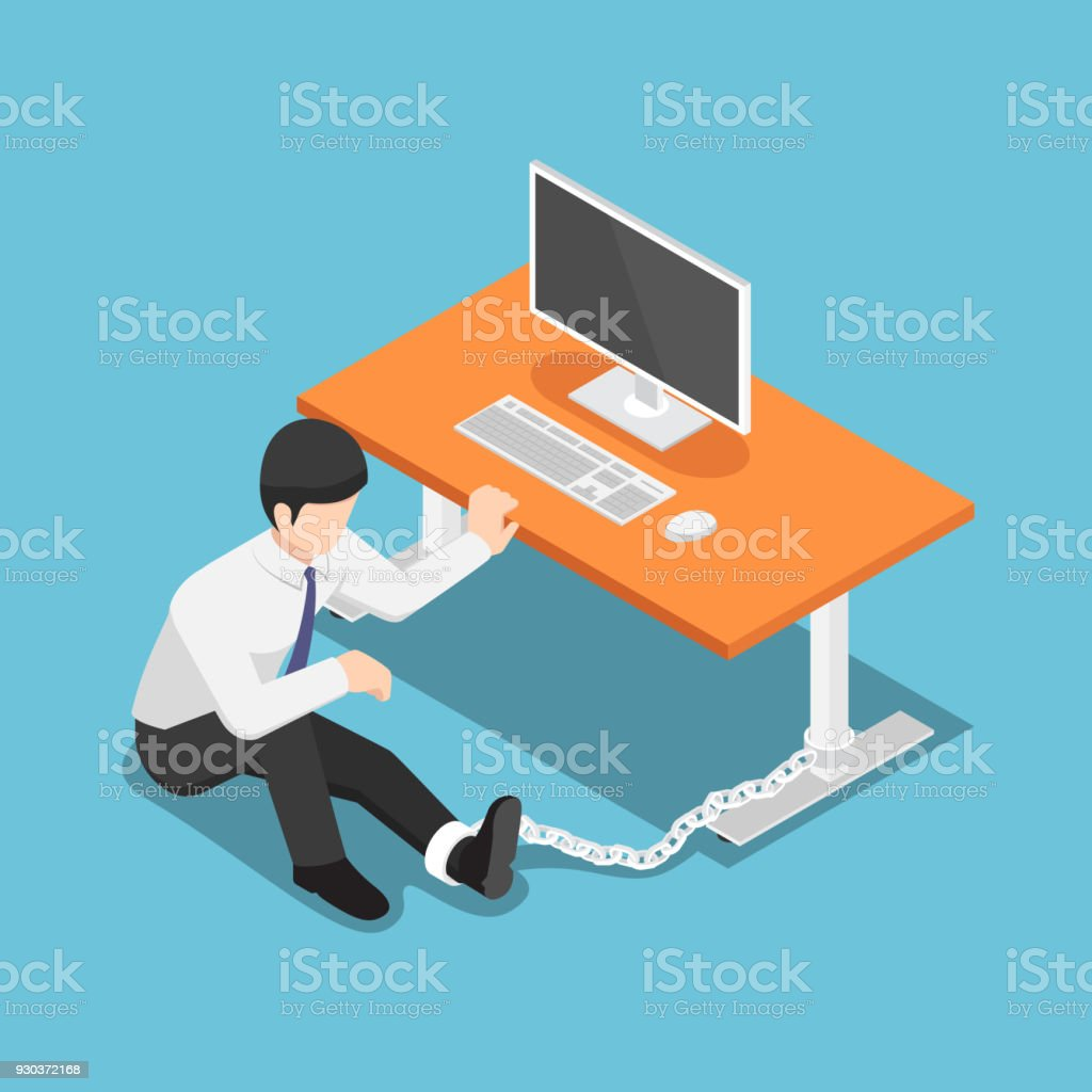 Isometric businessman chained to the desk. vector art illustration